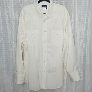 Vintage Wrangler Pearl Snap White Button Down XXL